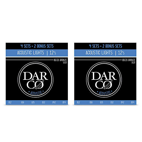 Darco D520 80/20 Light 6 Set Value Pack Acoustic Guitar Strings-Light (12-54) 2-Pack