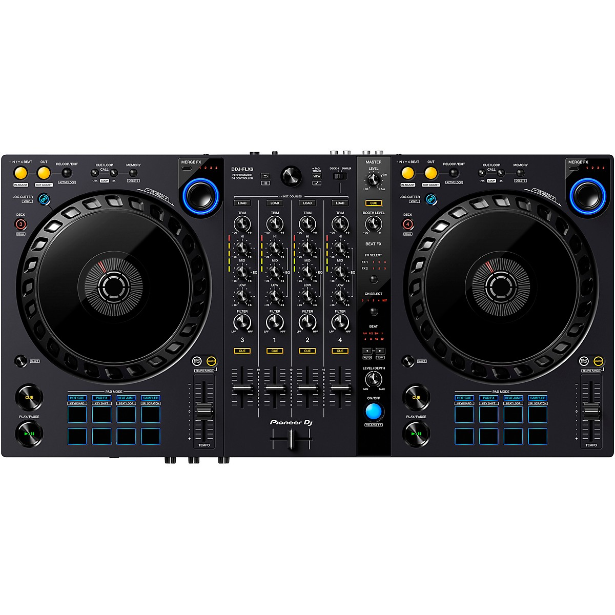 Pioneer DDJ-FLX6 4-Channel DJ Controller for Serato DJ Pro and rekordbox dj