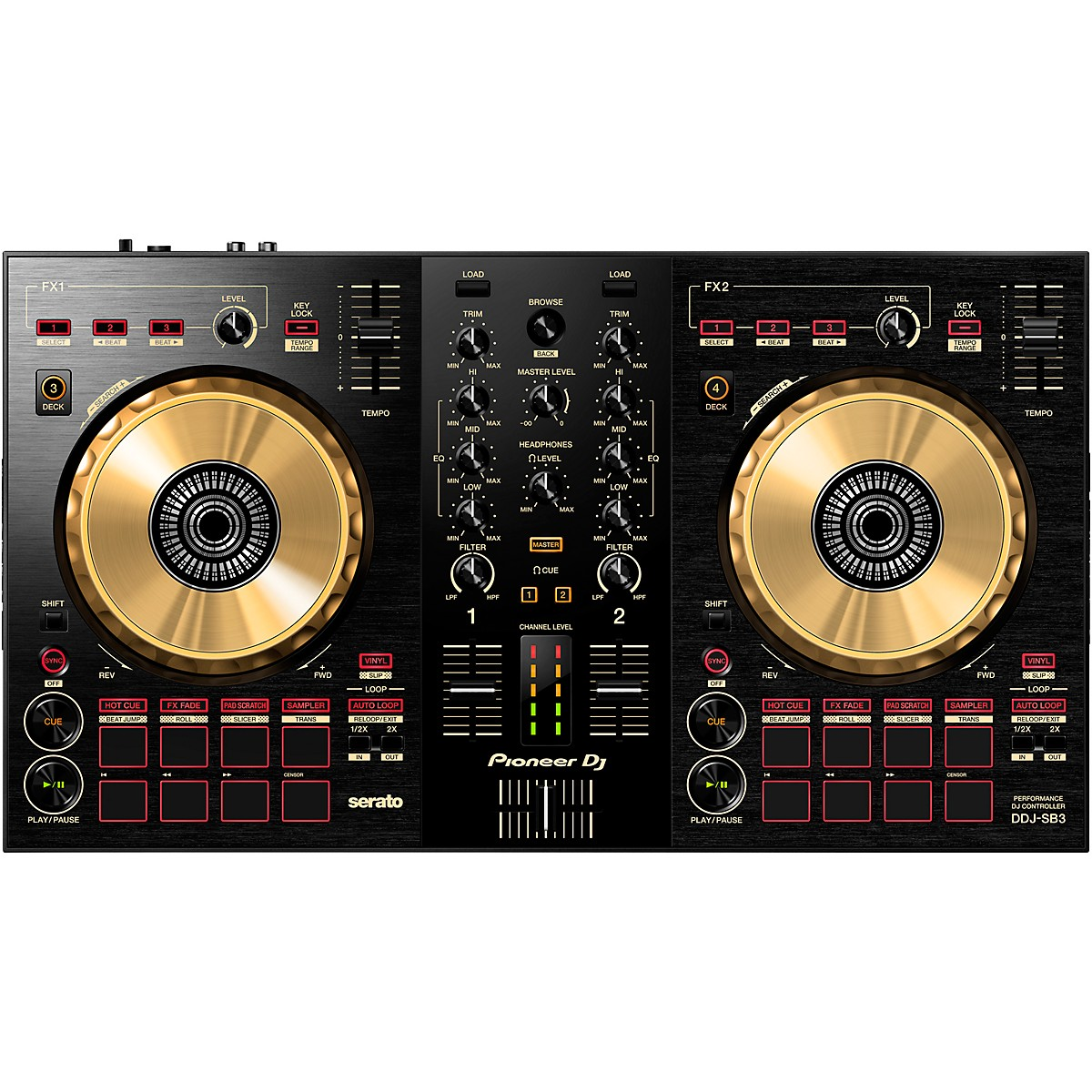 Pioneer DDJ-SB3-N Limited-Edition Gold Serato DJ Controller with Pad Scratch