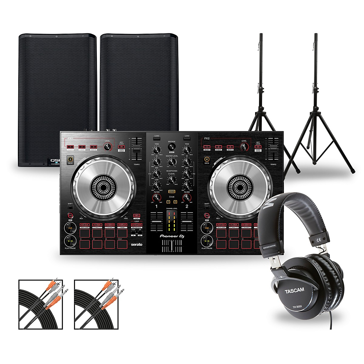 Pioneer DJ Package with DDJ-SB3 Controller and QSC K.2 Series Speakers