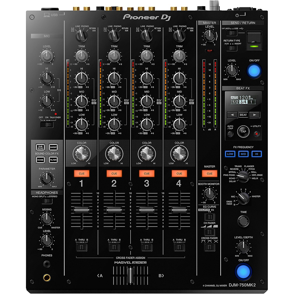 Pioneer DJM-750MK2 4-Channel DJ Mixer with Effects and rekordbox
