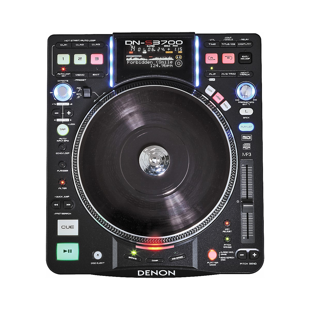 Denon DJ DN-S3700 Digital Turntable Media Player and Controller