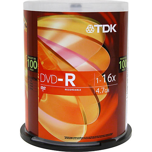 TDK DVD-R 4.7GB 120-Minute 16x 100 Pack Spindle