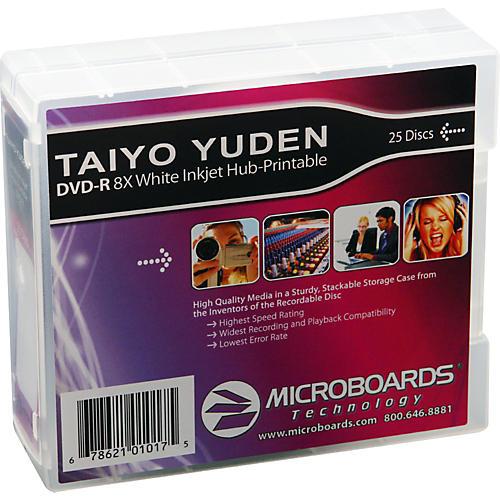 Taiyo Yuden DVD-R 8X White Inkjet-Printable and Hub-Printable 25-Disc Spindle