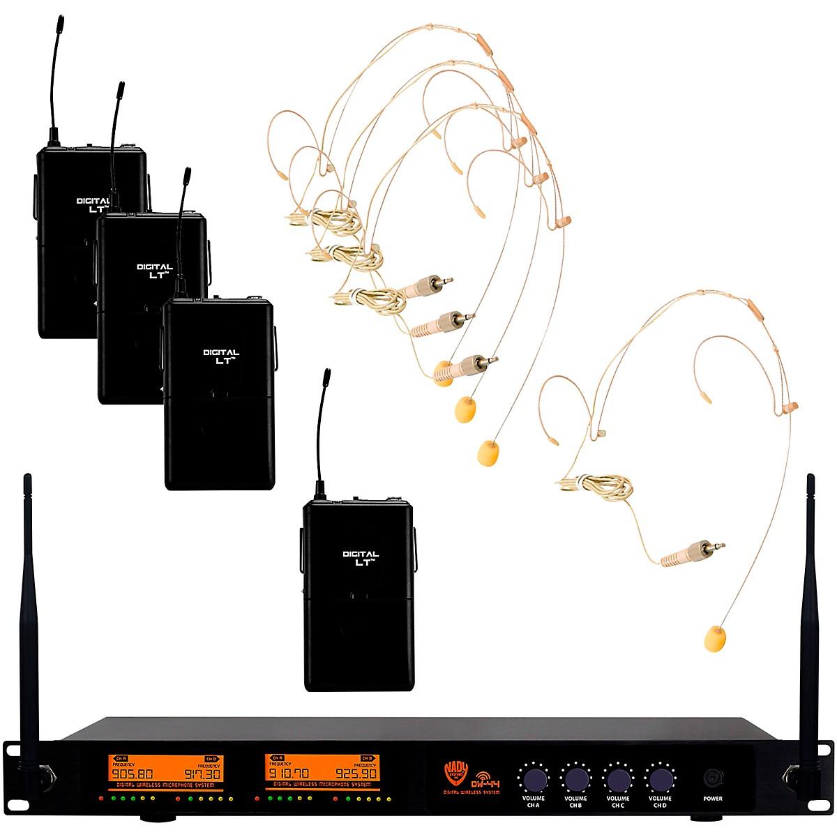 Nady DW-44 Quad Digital Wireless System with Wireless Headset Microphone