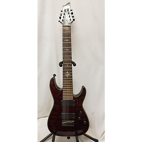 used schecter guitar research damien elite 8 string solid body electric guitar trans red. Black Bedroom Furniture Sets. Home Design Ideas