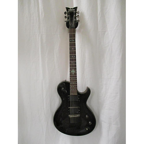 used schecter guitar research damien elite solo solid body electric guitar trans black guitar. Black Bedroom Furniture Sets. Home Design Ideas