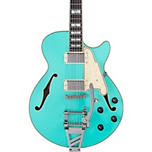 Deluxe SS Semi-Hollow Electric Guitar with D'Angelico Shield Tremolo Matte Surf Green