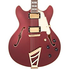 Deluxe Series DC Semi-Hollow Electric Guitar with USA Seymour Duncan Humbuckers and Stairstep Tailpiece Matte Wine