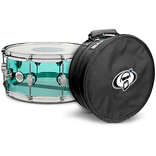 DW Design Series Sea Glass Acrylic Snare Drum, Chrome Hardware with Protection Racket Case