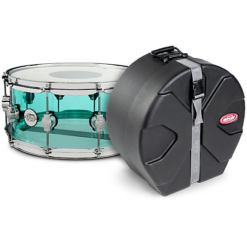 DW Design Series Sea Glass Acrylic Snare Drum, Chrome Hardware with SKB Case