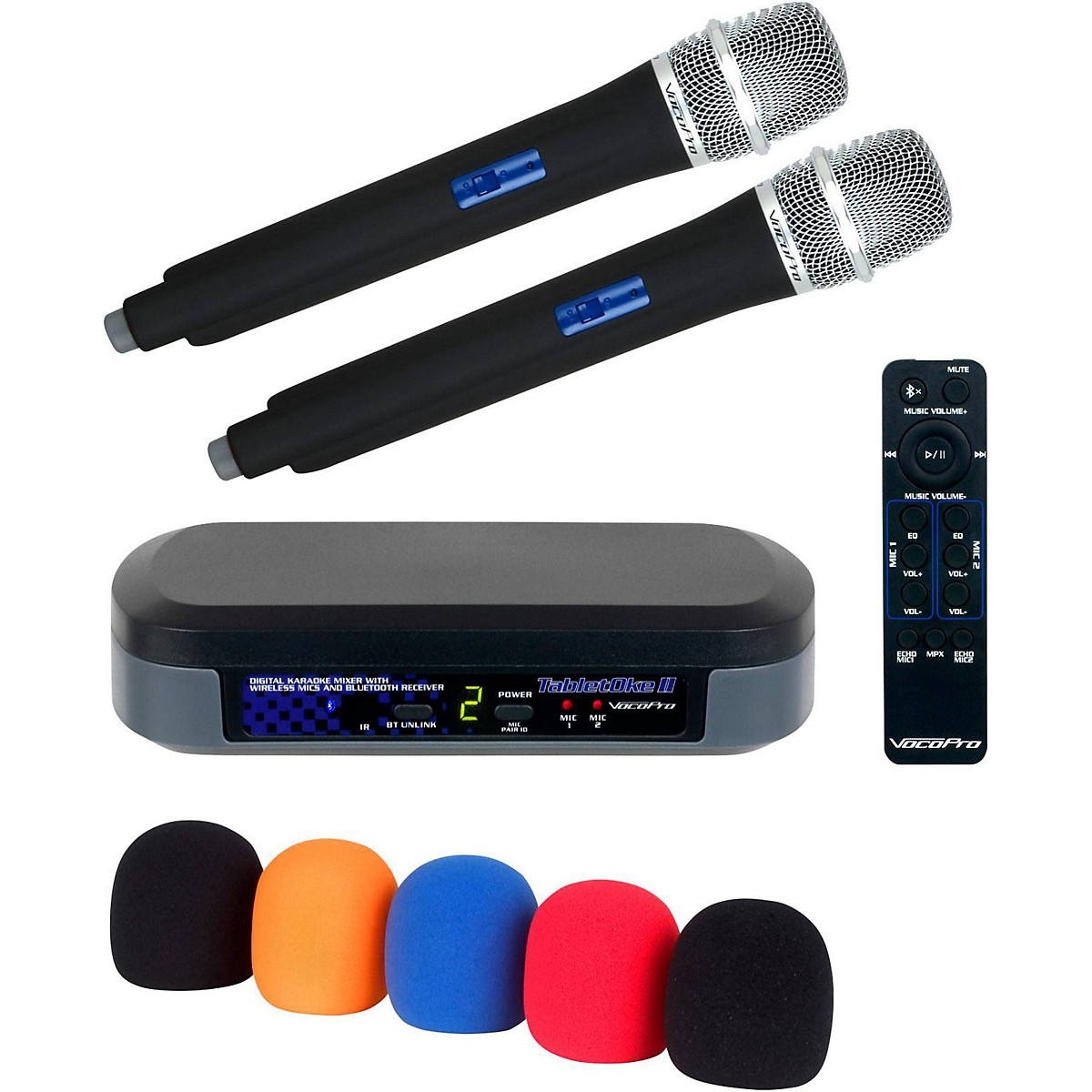 VocoPro TabletOke II Digital Karaoke Mixer with Wireless Mics, Bluetooth Receiver, and Mic Wind Screens (5)