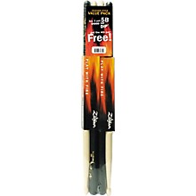 Zildjian Dip Wood Drumsticks, Buy 3 Pairs Get 1 Pair Free - Black