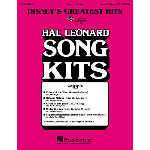 Hal Leonard Disney's Greatest Hits (Song Kit #40) UNIS/2PT Arranged by Keith Christopher