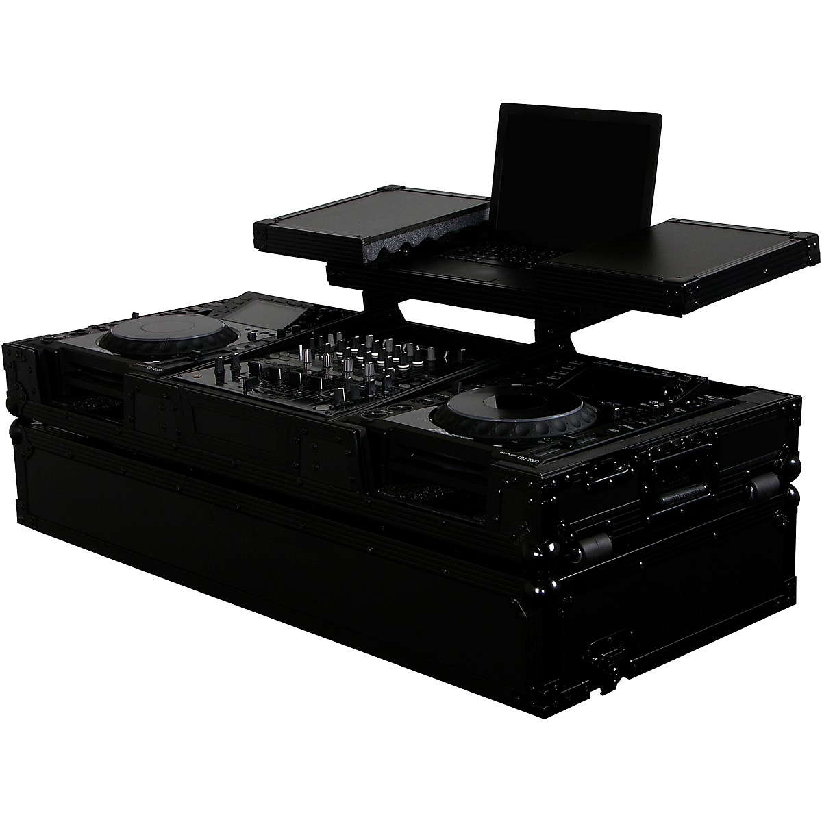 Odyssey Double Deluxe Combo Rack 11u over 16u with two side tables & wheels