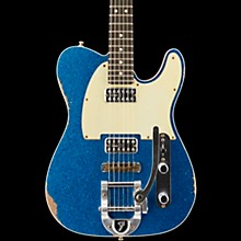 Fender Custom Shop Double TV Jones Relic Telecaster with Bigsby Electric Guitar Blue Sparkle