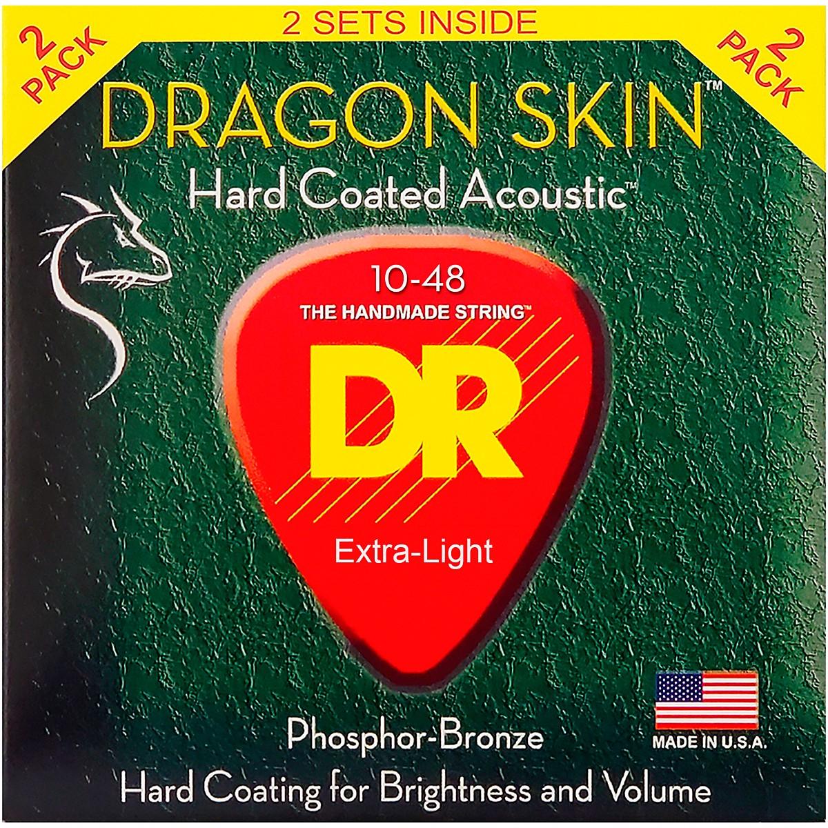 DR Strings Dragon Skin Clear Coated Phosphor Bronze Light Acoustic Guitar Strings (10-48) 2 Pack