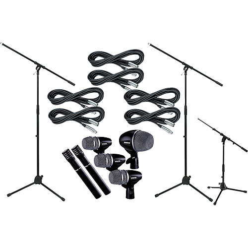 Shure Drum Mic Package with Cable and Boom Stands