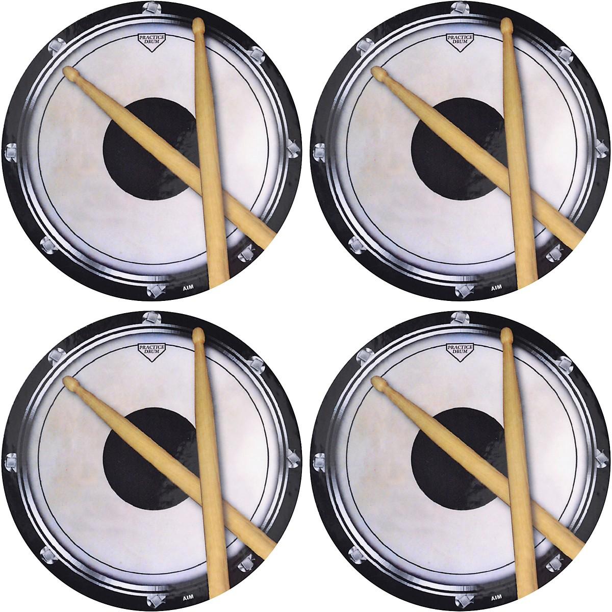 AIM Drum Practice Pad Vinyl Coaster 4 Pack