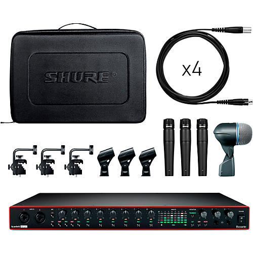 Shure Drummer's Track Pack Bundle With Focusrite Scarlett 18i20 and Shure DMK57-52 Drum Microphone Kit
