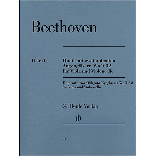 G. Henle Verlag Duet with Two Obligato Eyeglasses Woo32 for Viola And Violoncello By Beethoven / Platen