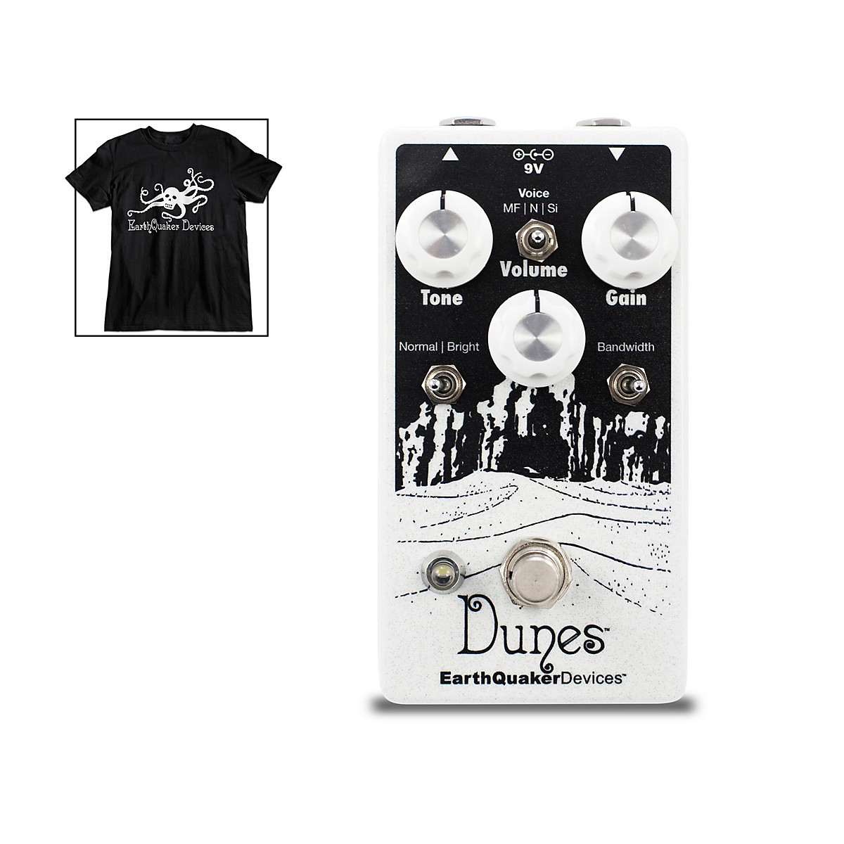 Earthquaker Devices Dunes Overdrive Guitar Pedal V2 with Octoskull T-Shirt Large Black