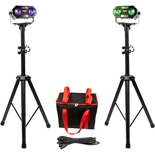VocoPro Dynamic-Duo-Plus, Two DJ-Smart-LightShows Package With Two SS-99 Stands and Carrying Bag