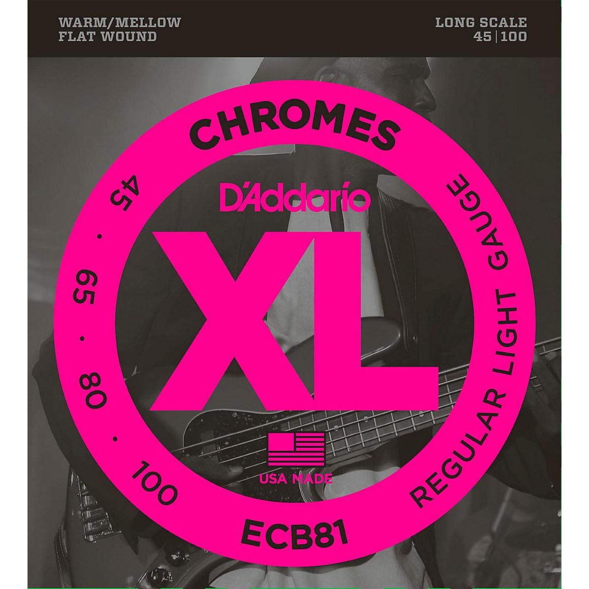 D'Addario ECB81 XL Chromes Flatwound Bass Strings
