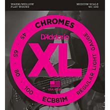 D'Addario ECB81M Chromes Flat Wound Electric Bass Strings Light Medium Scale
