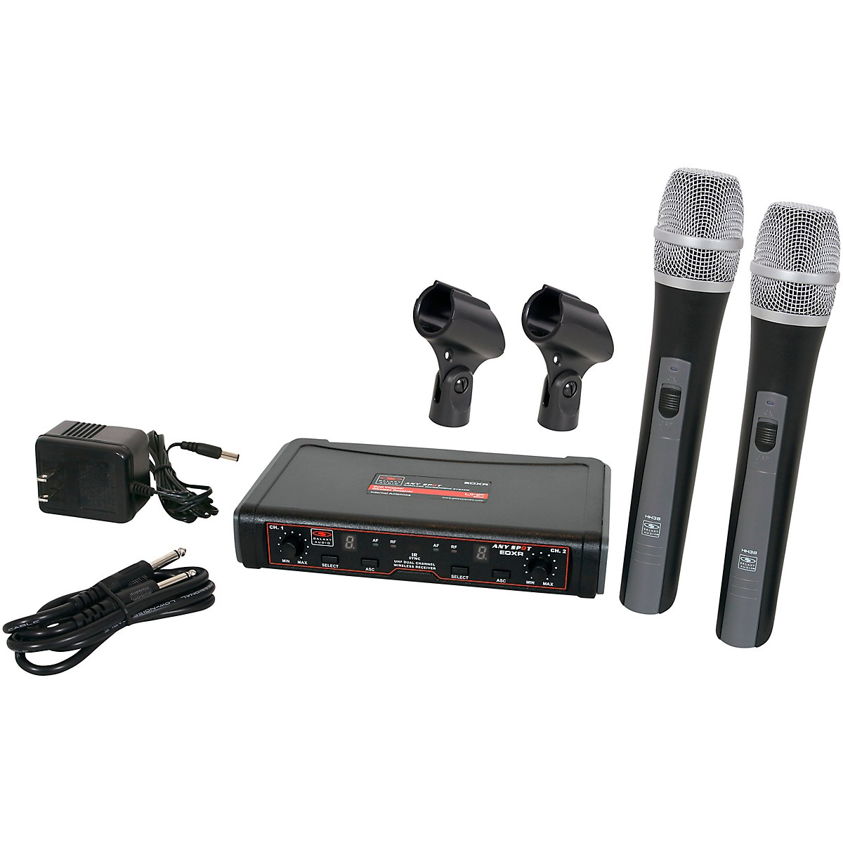 Galaxy Audio EDXR/HH38N Dual Channel Wireless Microphone System includes the EDXR Receiver and 2 HH38 Handheld Transmitters Frequency CODE N 518-542 MHz