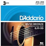 EJ11-3D 80/20 Bronze Light Acoustic Guitar Strings 3-Pack