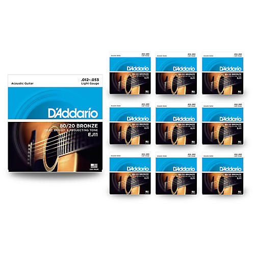 D'Addario EJ11 80/20 Bronze Light Acoustic Guitar Strings 10 Pack
