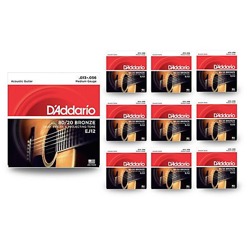 D'Addario EJ12 80/20 Bronze Medium Acoustic Guitar Strings 10 Pack