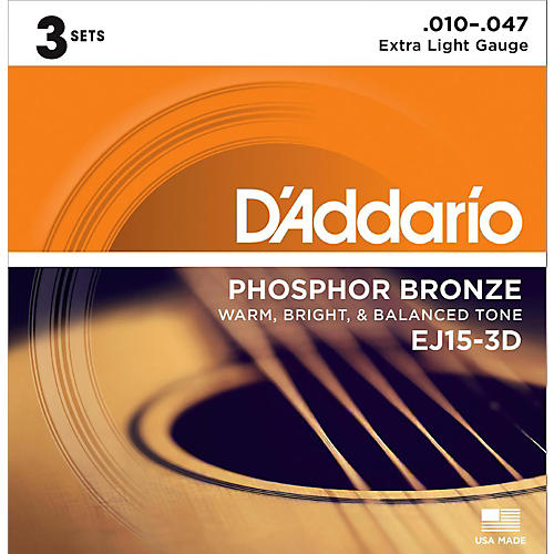 D'Addario EJ15 Phosphor Bronze Extra Light Acoustic Strings 3-Pack