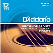 D'Addario EJ16-12P Phosphor Bronze Light Acoustic Guitar String (12-Pack)