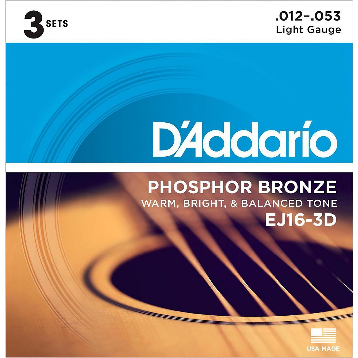 D'Addario EJ16-3D Phosphor Bronze Light Acoustic Guitar Strings (3-Pack)