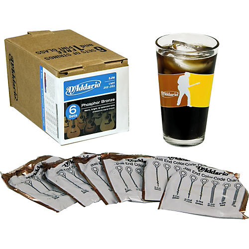D'Addario EJ16 6-Pack With Pint Glass