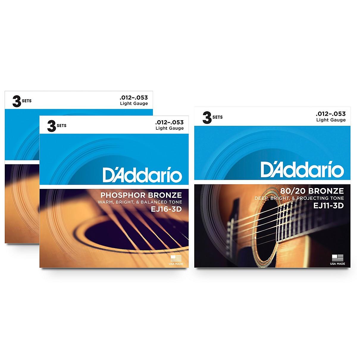 D'Addario EJ16 Phosphor Bronze 6-Pack plus EJ11 Bronze 3-Pack Acoustic Guitar String Set
