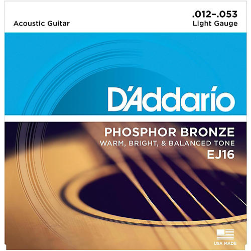 D'Addario EJ16 Phosphor Bronze Light Acoustic Guitar Strings Single-Pack