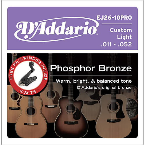 D'Addario EJ26 Acoustic Guitar Strings 10-Pack with Free Prowinder