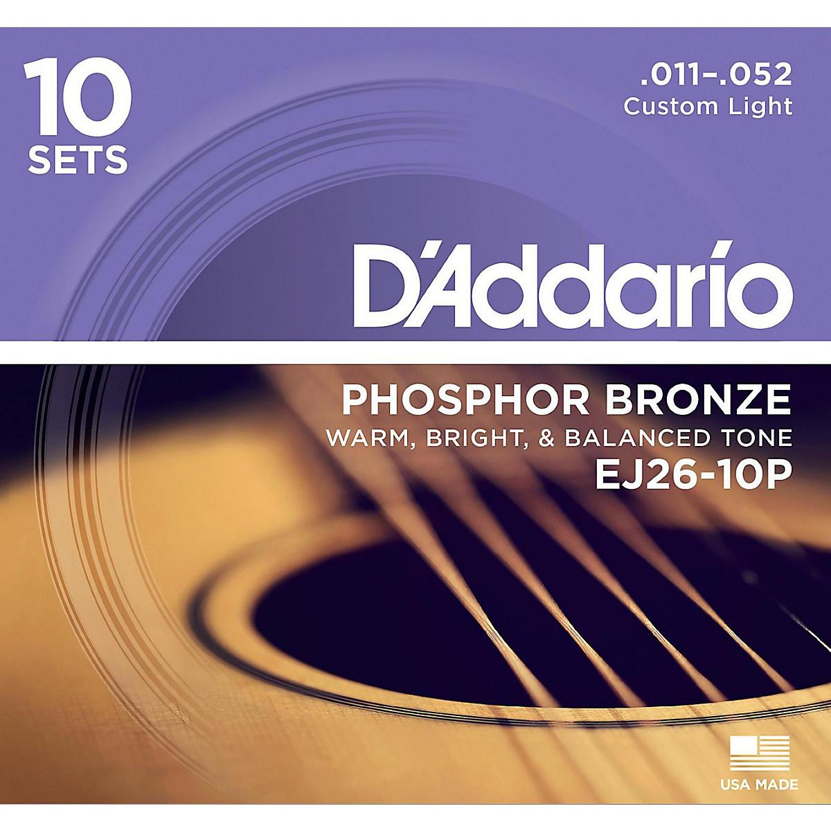D'Addario EJ2610-P 10-Pack Custom Light Acoustic Guitar Strings