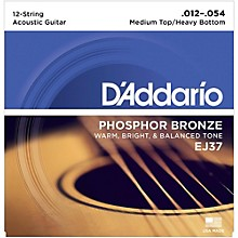 D'Addario EJ37 12-String Phosphor Bronze Acoustic Guitar Strings - Medium Top Heavy Bottom