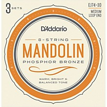 D'Addario EJ74-3D Phosphor Bronze Medium Mandolin Strings, 11-40 (3 Pack)