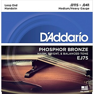 Daddario EJ75 Phosphor Bronze Medium/Heavy Mandolin Strings 11.5-41 by D'Addario