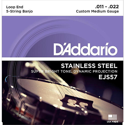 D'Addario EJS57 Stainless Steel Custom Medium 5-String Banjo Strings (11-22)