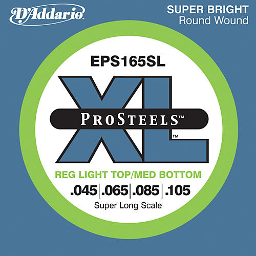 D'Addario EPS165SL XL ProSteels Light Top/Medium Bottom Super Long Scale Bass Strings