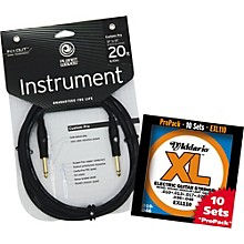 D'Addario EXL110-10P With Free 20' Custom Pro Instrument Cable