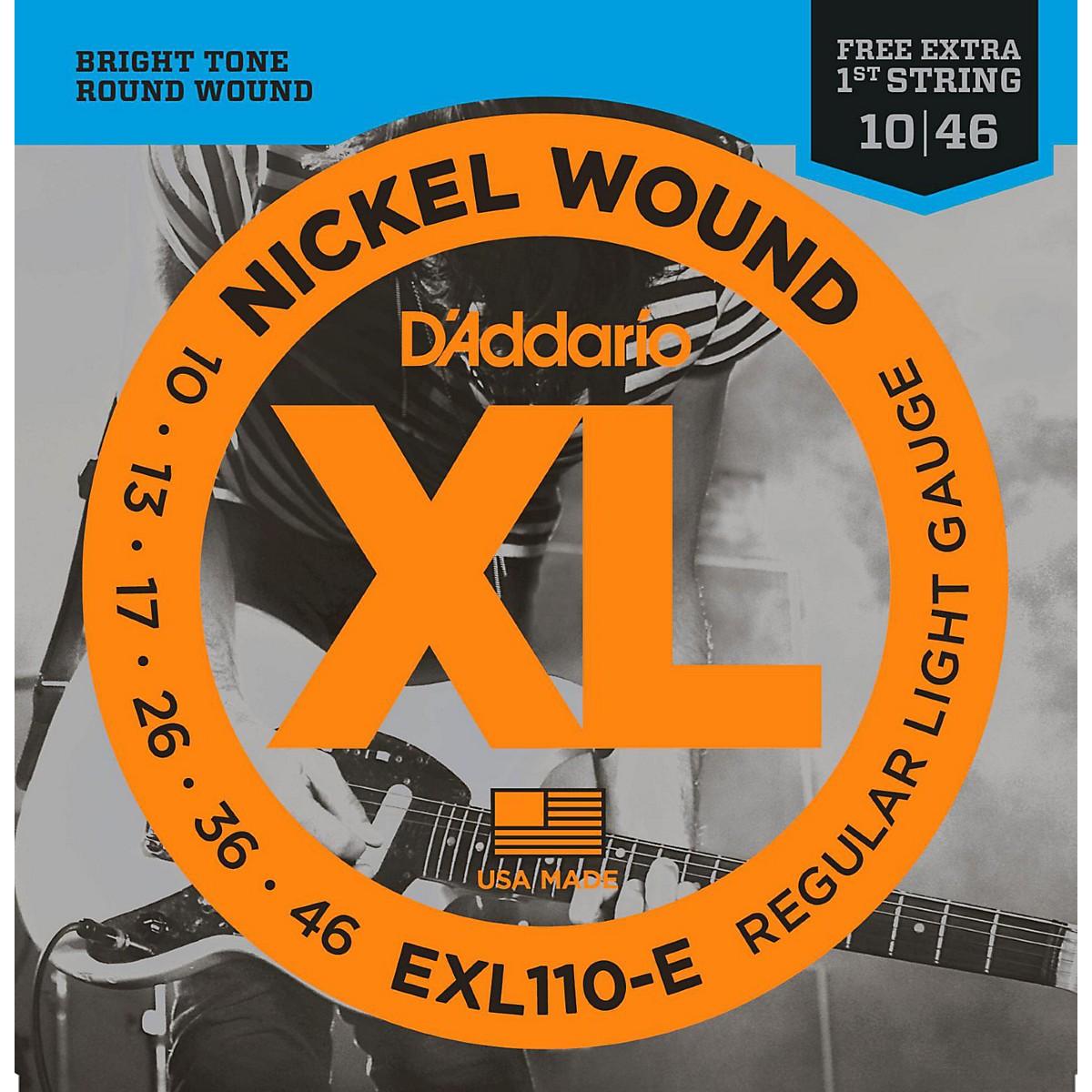 D'Addario EXL110-E Bonus Pack: Light Electric Guitar Strings with Bonus High E String (10-46)