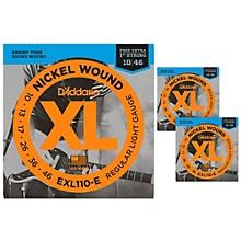 D'Addario EXL110-E Light Electric Guitar Strings 3-Pack with 3 Bonus High E Strings (10-46)