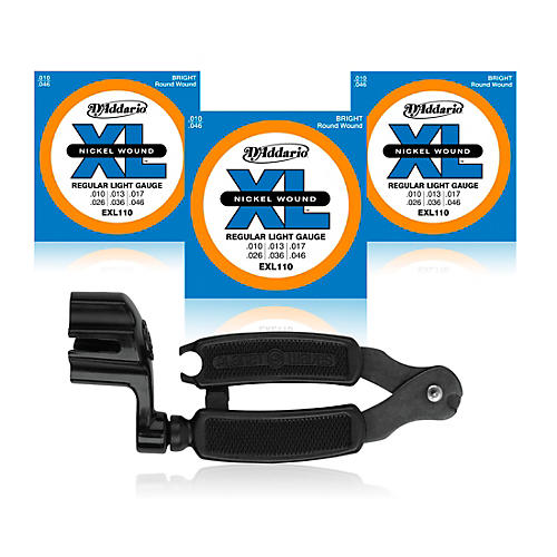 D'Addario EXL110 Light Electric Guitar Strings 3-Pack with Pro-Winder String Winder/Cutter